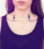 black ballet tattoo on neck
