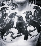 blackwork chest tattoo crows