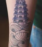 building and waves oriental tattoo by diana katsko