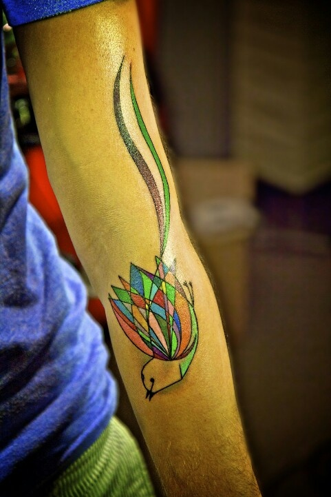 colorful scissor-tailed fly catcher tattoo inspired by charley harper