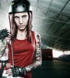 fabrice petre tattoo photography rollerblader girl