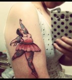 fat ballet dancer tattoo on arm