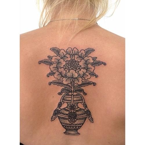 flower vaze tattoo by victor j webster