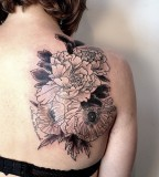 flowers back tattoo by victor j webster