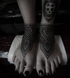 foot tattoos by guy le tattooer scull