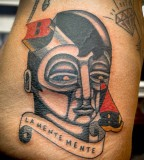 futuristic face tattoo by luca font