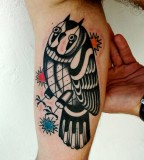 futuristic owl tattoo by luca font