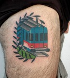 futuristic train tattoo by luca font
