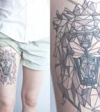 geometric lion thigh tattoo by diana katsko