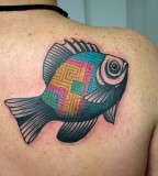 graphic fish tattoo by luca font