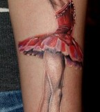 leg tattoo ballet dancer in red dress