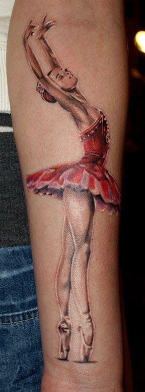 leg tattoo ballet dancer in red dress
