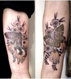 puriri moth manuka kowhai tattoo by victor j webster