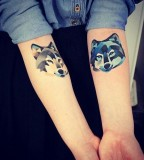 sasha unisex tattoo cold colors wolves