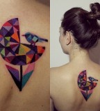 sasha unisex tattoo colorful geometric flower and bird