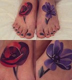 sasha unisex tattoo flowers on feet