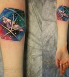 sasha unisex tattoo paper crane in cosmos