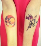 sasha unisex tattoo sleeping fox and berries
