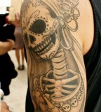 skeleton bride tattoo on arm