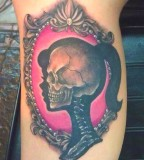 skeleton girl pink tattoo