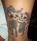 skeleton safety pin tattoos