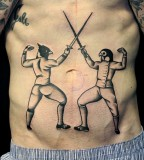 sword fight tattoo by luca font