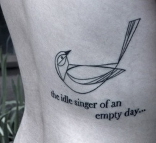 the idle singer of an empty day tattoo inspired by charley harper