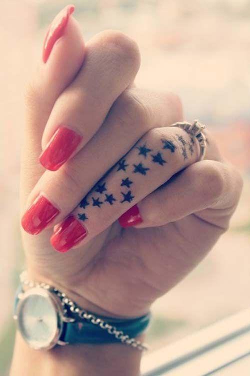 Tiny Stars Tattoo On Red Polished Hand Tattoomagz Tattoo