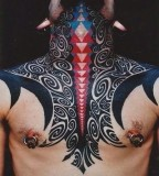 tribal neck and chest tattoo