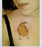 yellow bird tattoo inspired by charley harper