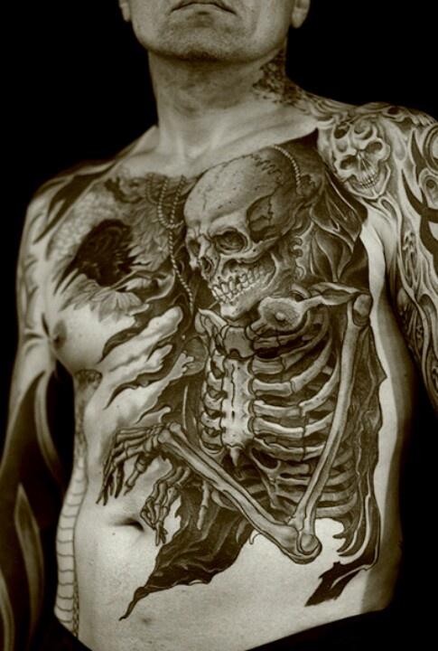 3D skeleton tattoo