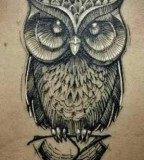 Awesome black and white owl tattoo