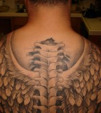 Back wings tattoo for men