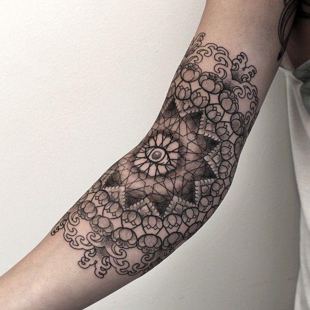 Black and white tattoo by Chaim Machlev