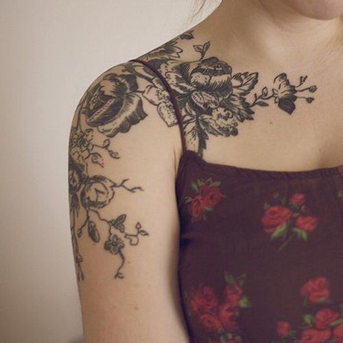 Black flowers sleeve tattoo for women