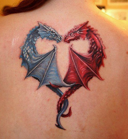 Blue and red dragon tattoo