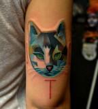 Blue cat tattoo