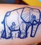 Blue elephant tattoo by David Hale