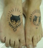 Cats tattoos on foots