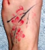 Cherry blossom foot tattoo