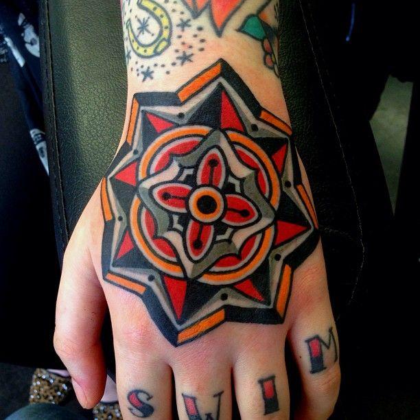 Colorful Mandala style tattoo