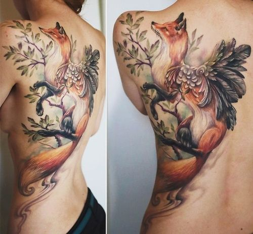 Colorful fox tattoos