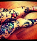 Colorful legs tattoo