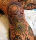 Colorful tattoos by Andy Perez  funny skull