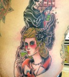 Colorful tattoos by Andy Perez   lady at bar