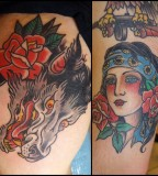 Colorful tattoos by Andy Perez  wolf lady