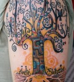Colorful tree tattoo by David Hale