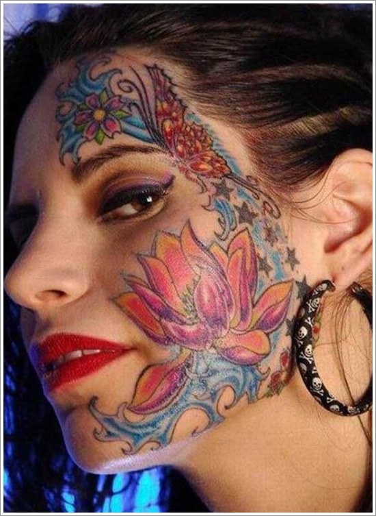 Colorful women face tattoo