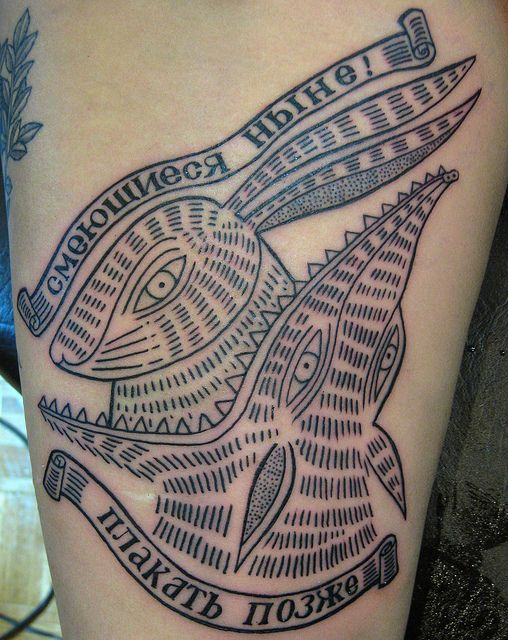 Cool animals tattoo by Duke Riley