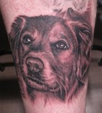 Dog tattoo by Bob Tyrell